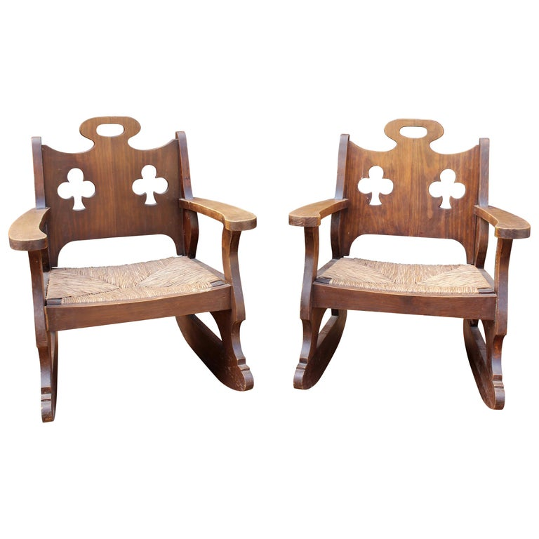 1950 Pair Of Spanish Rattan Wicker Rocking Chairs For Sale At 1stdibs