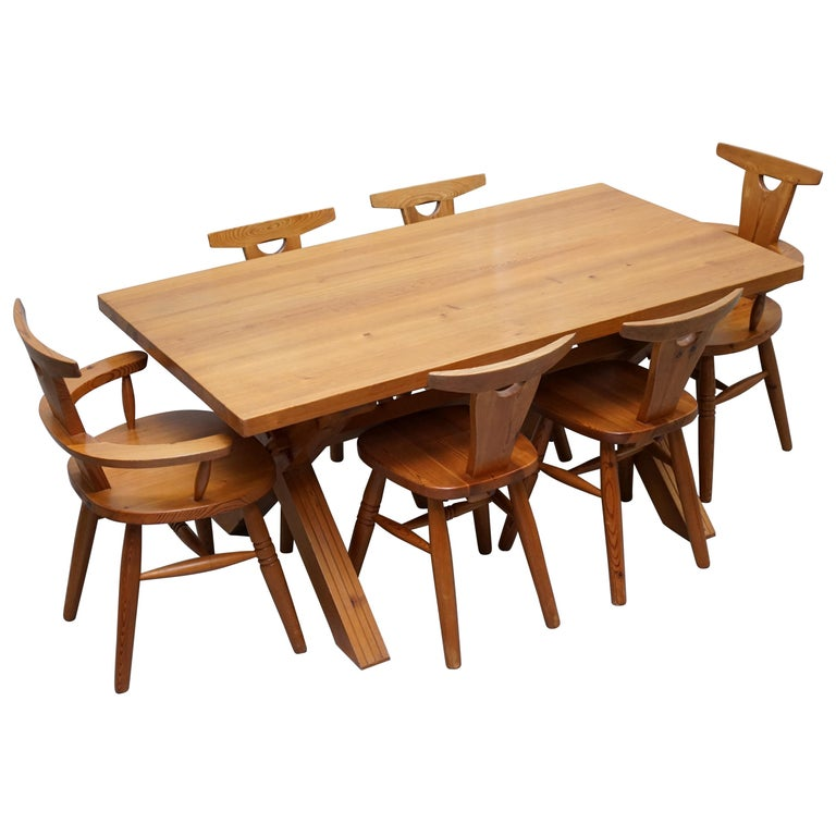 Rare Robin Nance Of St Lues Solid Pine X Framed Dining Table 6 Chairs Carvers