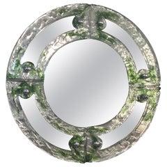 Venetian Glass Round Mirror by Mazzega, circa 1960