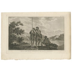 Antique Print of a Maori Family by Cook, 1803