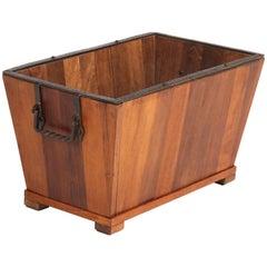 Dutch Padouk Mid-Century Modern Firewood Box, 1950s
