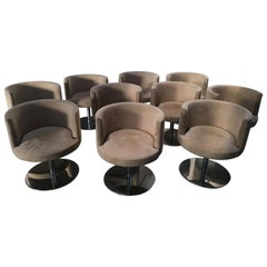 Mid-Century Modern Italian Set of 10 Alcantara Swivel Chairs with Chrome Base
