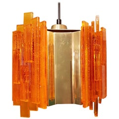 Claus Bolby Acrylic and Brass Pendant, Denmark, 1970s