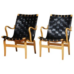 Pair of Armchairs Eva Designed by Bruno Mathsson for K. Mathsson, Sweden, 1960s