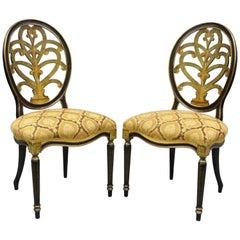 Galimberti Lino Italian Regency Hepplewhite Adams Style Pointed Side Chairs Pair