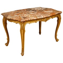 20th Century Gilt Wood with Marble Top Italian Coffee Table, 1950