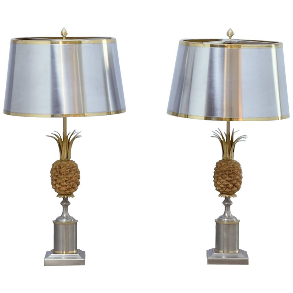 Maison Charles Pineapple Table Lamp 1960 Brass Copper For Sale