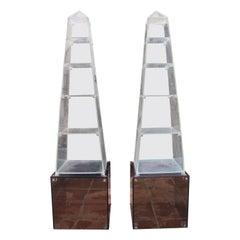1970s Pair of Spanish Methacrylate Plexiglass Obelisk Shaped Book Shelves