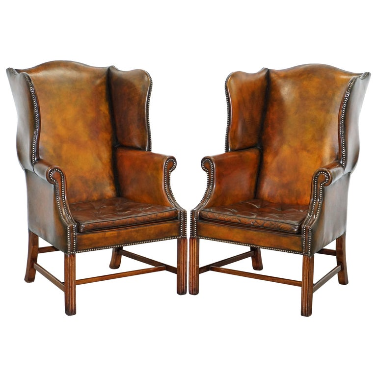 Pair of Georgian, circa 1820 Restored Hand Dyed Brown Leather Wingback Armchairs For Sale