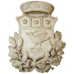 19th Century White Marble Coat of Arms, 1800s