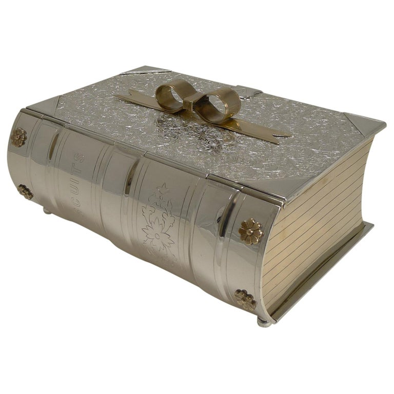 """Antique English Novelty """"Biscuits"""" Box by Deykin & Sons in Silver Plate, 1878 For Sale"""