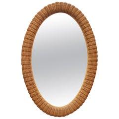 1980s Spanish Oval Wicker Frame Mirror