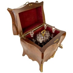 Rococo Style Liquor Bar Tantalus Liquor Cabinet with Bronze Mounts