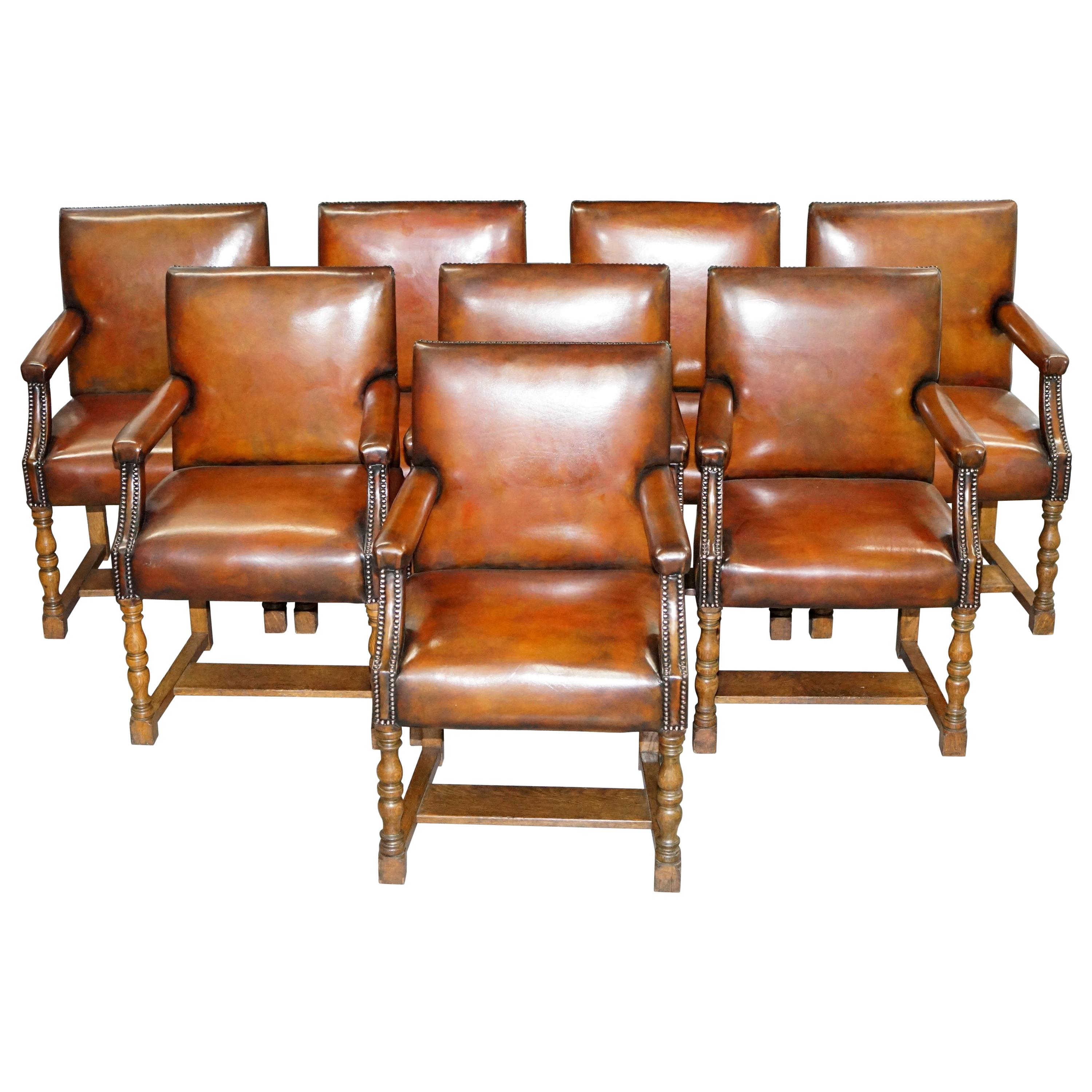 8 Howard & Son's Stamped circa 1900 Brown Leather Carver Gainsborough Armchairs