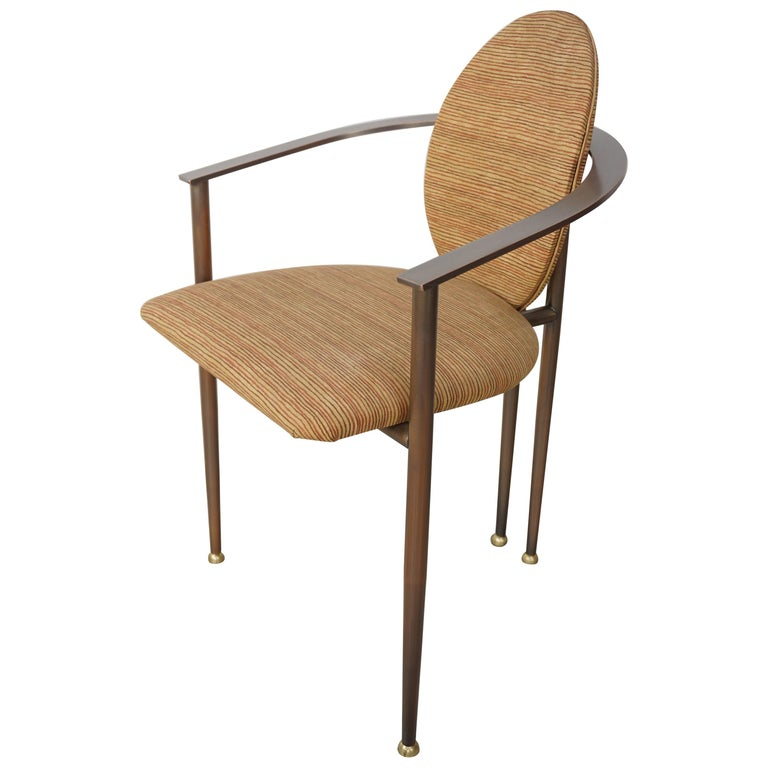Copper Metal and Fabric Dutch Design Belgo Chrome Armchair For Sale