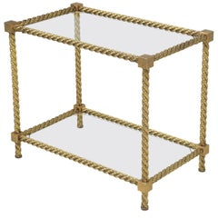 French Mid-Century Modern, Twisted Brass Rope End Table