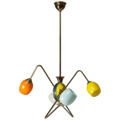 French Modernst Sputnik Chandelier, 1950s, Brass Glass and Mirror