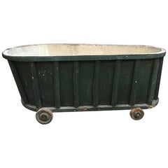 19th Century French Bath Tub Covered with Green Painted Wood Panel, 1890s