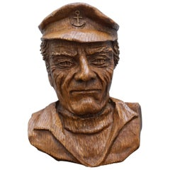 Carved Wood Style Face of an Old Fisherman Looks like Captains Bird's-Eye Nice