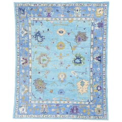 New Contemporary Turkish Oushak Rug with Modern Colors and Expressionist Style