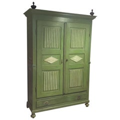 19th Century Italian Painted Wardrobe in Pitch Pine Wood with Drawer, 1890s