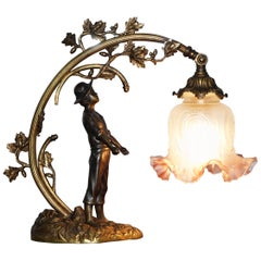 Stunning Solid Bronze circa 1920 Table Lamp with Statue Original Shade Rare Find