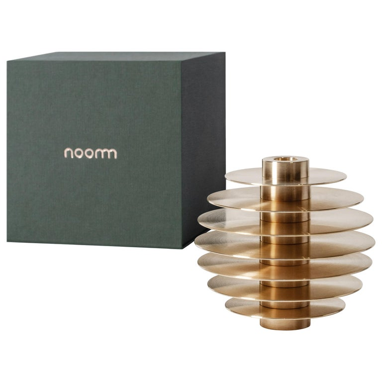 Modern ORB Candleholders Set CS1 by Noom in Brass For Sale