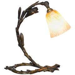 Atemberaubende Charles Schneider Solide Bronze um 1920 Tisch Lampe Original Schirm