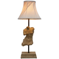 Stamped Atelier Michel Cayla Stone Torso Bust of Male Converted into Table Lamp