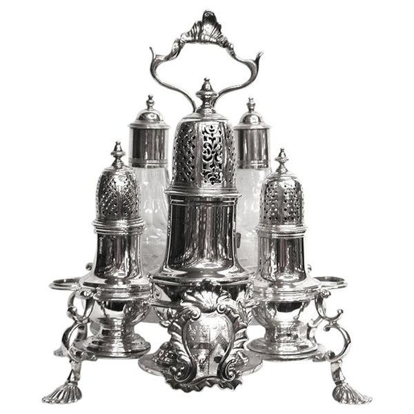 George 11 Silver and Glass Warwick Cruet, 1743-1752