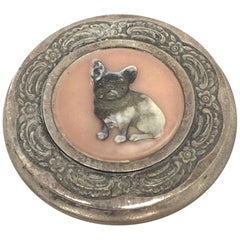Art Nouveau Metal Bulldog Motif Ladies Compact Antique German, 1910s