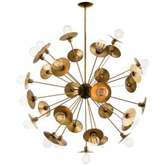 Mid-Century Modern Star Explosion Chandelier Handcrafted in Vintage Brass
