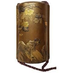 19th Century Meiji Period Gild Laquered Inro