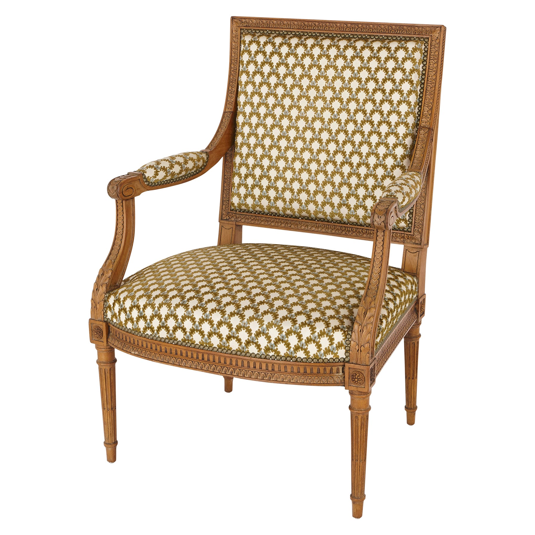 Antique Silk-Upholstered Beechwood Armchair by Linke