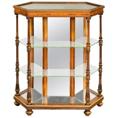 Antique Hexagonal Walnut Display Table Attributed to Holland and Sons