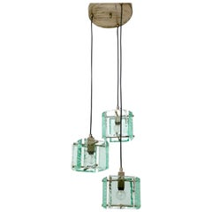 Three-Light Nile Green Chandelier in the Style of Fontana Arte, Italy, 1950s