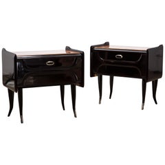 Italian-Design Midcentury Black Silver Plated Nightstands, 1950
