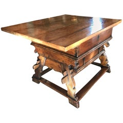 "18th Century Swiss Banker Table ""Swiss Exchange"" Center Table"