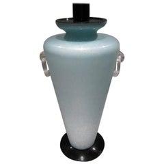 Late 20th Century Scavo Finish Murano Glass Aquamarine Table Lamp
