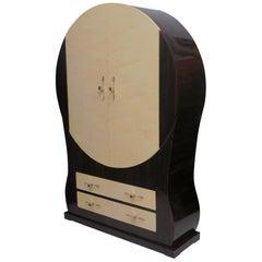 Art Deco Round Shape Macassar Wood and Goat Skin Italian Bookcases, 1940