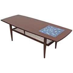 WeBe Attributed Teak Coffee Table with Inset Blue Mosaic