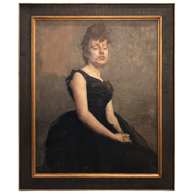 """19th Century Portrait by Adolphe """"Dechenaud"""" For Sale"""