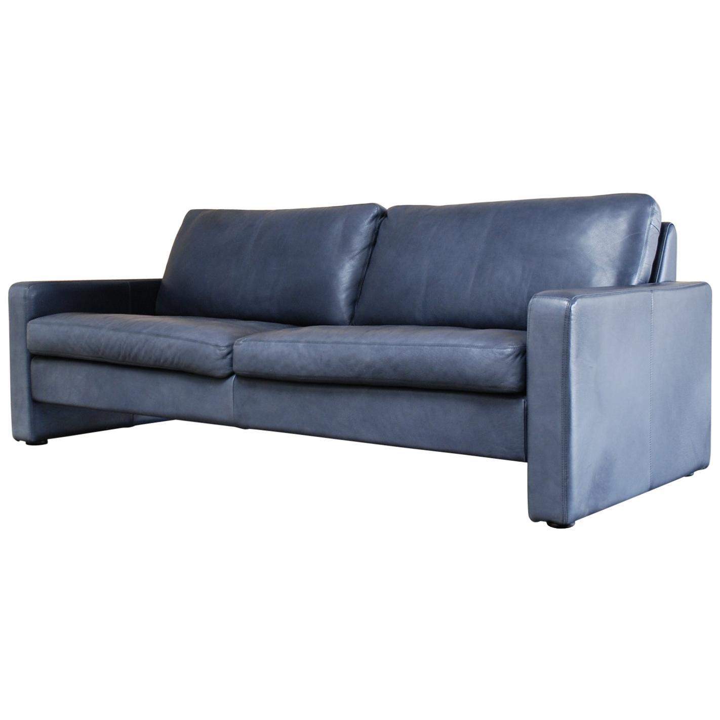 COR Conseta Blue Leather Sofa