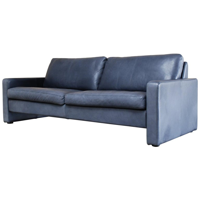 COR Conseta Blue Leather Sofa For Sale at 1stdibs