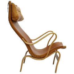 Rare Pernilla 2 Chair in Original Leather by Bruno Mathsson, Sweden, 1950s