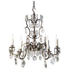 20th Century Rock Crystal and Silver Leaf Italian Chandelier