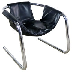 Chrome and Black Vinyl Cantilevered Sling Chair Attributed to Vecta Group, Italy