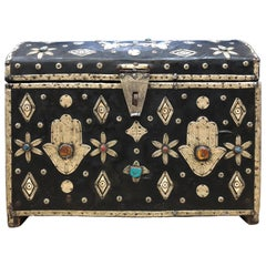 Early 1900s Large Decorative Moroccan Chest - Leather, Bone, Silver, Gems, Hamsa