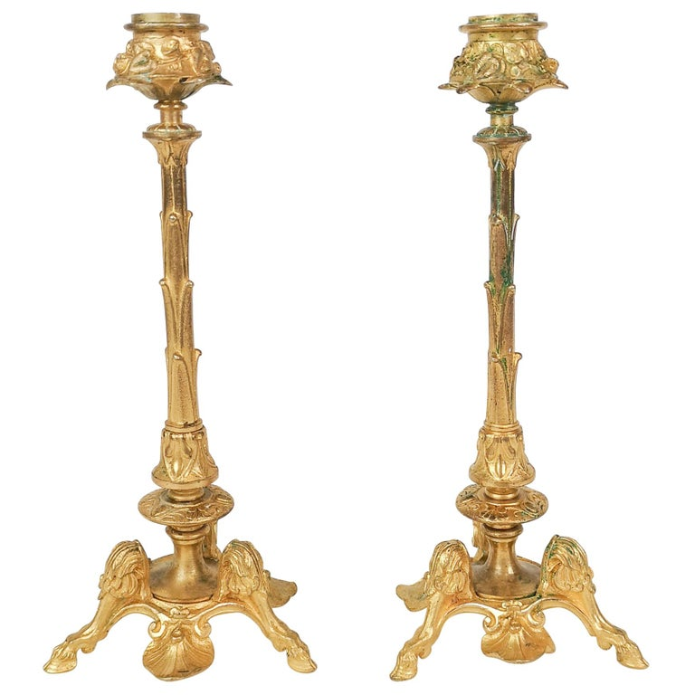 Pair of Gilt Bronze Candle Sticks 19th Century For Sale
