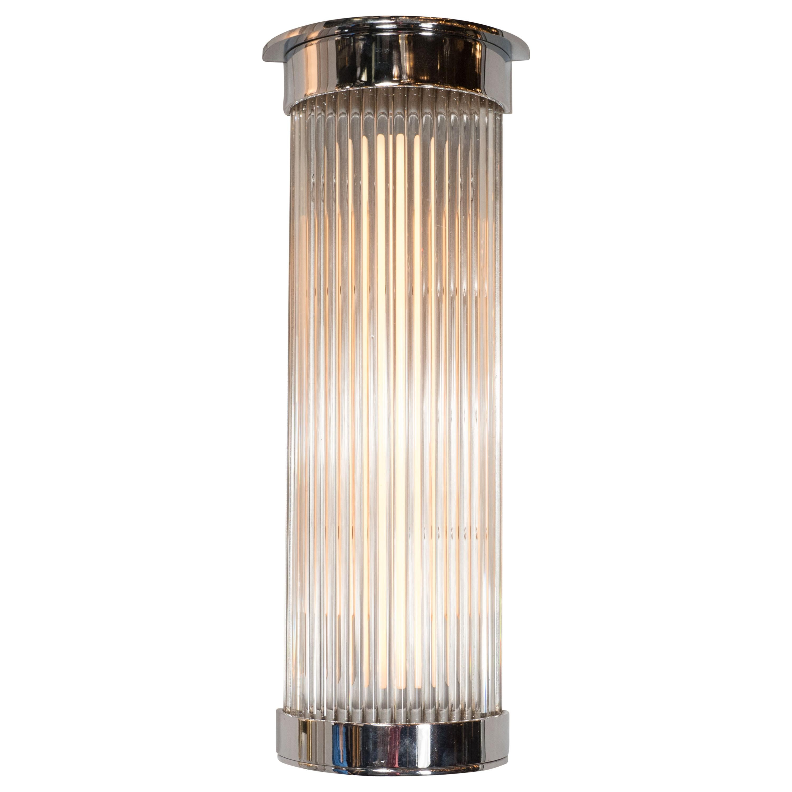 Art Deco Streamlined Machine Age Chrome and Glass Rod Sconce